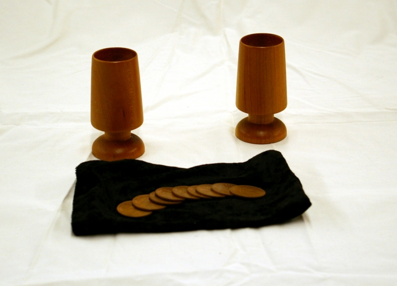 Coins Accross Cups with 9 Real English Pennies